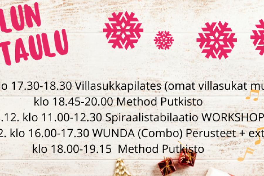Joulun ajan tunnit ja kurssit Töölössä!